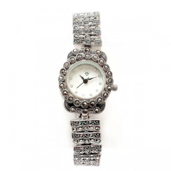 Marcasite Watch Rectangular & Rd Link with Round Face