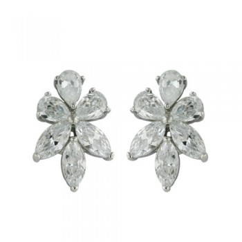 Brass Earg 13.46*20Mm Cl Cz Flower Stud