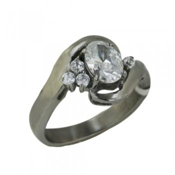 Stainless Steel Ring 6.3*8.2Mm Oval Cl Cz Center W